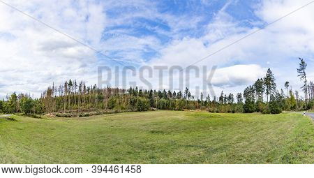 Scenic View To The Wisper Valley In Hesse, A Scenic Landscape With Old Traditional Forests And Agric