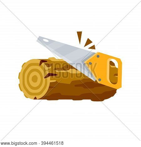 Saw Cuts Wood. Tool Of Lumberjack. Rural Object. Yellow Saw. Flat Cartoon Illustration. Care Of Fore