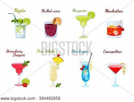 Vector Set Of Popular Alcoholic Cocktails Isolated On A White Background. Cocktail Menu. Mojito, Mul