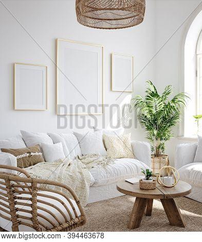 Mockup Frame In Living Room Interior Background, Coastal Boho Style, 3d Illustration