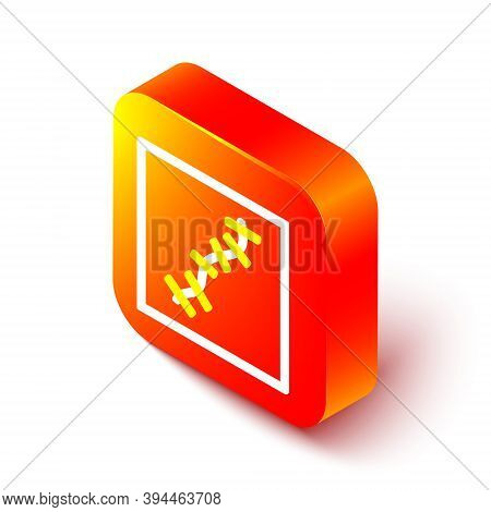 Isometric Line Scar With Suture Icon Isolated On White Background. Orange Square Button. Vector