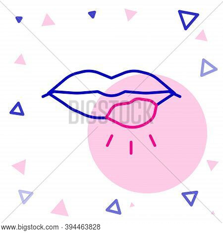 Line Herpes Lip Icon Isolated On White Background. Herpes Simplex Virus. Labial Infection Inflammati