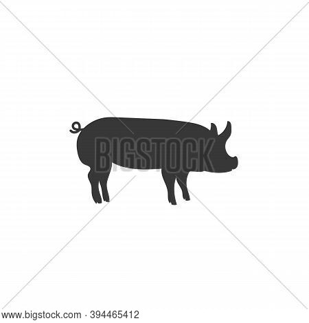 Vector Pig Silhouette. Pig Silhouette Icon Isolated White Background