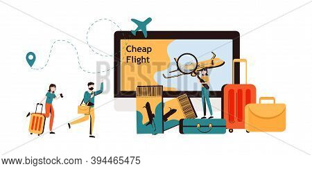 Lowcoster, Cheap Flight And Saving Vacation Budget Concept. Tiny Characters Buying Airplane Tickets