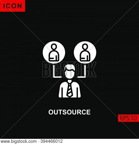 Icon Outsource With Work Team And World Arrows. Glyph, Flat Or Filled Vector Icon Symbol Sign Collec