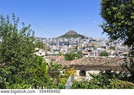 Athens Plaka, Mount Lycabettus Seen From Anafiotika Old City, Greece, Europe