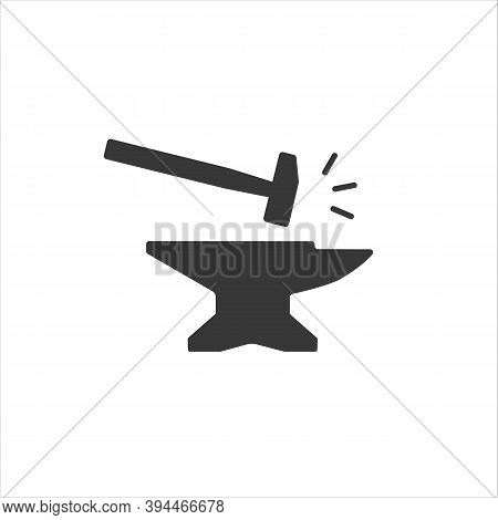 Anvil With Hammer Icon. Vector Illustration Flat