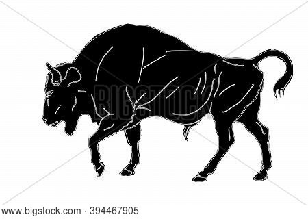 Bison, Bull, Isolated Monochrome Image On A White Background,   Silhouette,