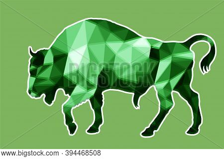 Bison, Bull, Isolated Monochrome Image On A White Background In A Low-poly Style