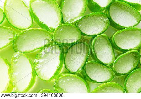 Aloe Vera Slices Top View Texture Background. - Image