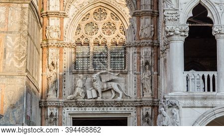 Statues On The Facade Of Cathedral Basilica Of Saint Marco. Piazza San Marco, Venice, Italy.
