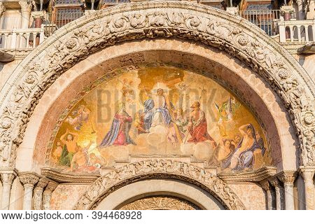 Wall Painting On The Facade Of Cathedral Basilica Of Saint Marco. Piazza San Marco, Venice, Italy.