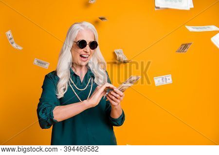 Photo Of Funky Crazy Grandma Lady Pack Usa Bucks Hands Money Fall Sky Wealthy Person Spend Money Lux