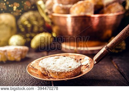 Slice Of Fried Bread With Cinnamon And Sugar In Old Copper Skimmer. Dessert Called