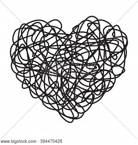Heart Shaped Tangled Grungy Scribble Isolated On White Background