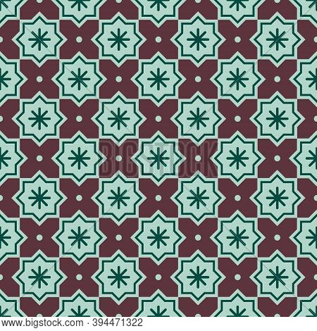 Christmas Abstract Pattern. Vector Seamless Pattern With Snowflakes On A Background. Geometric Simpl