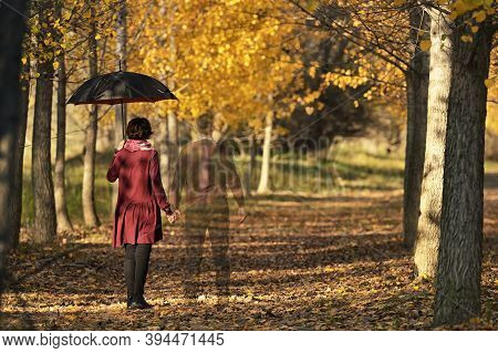 Conceptual Love You Forever Couple In Autumn Forest