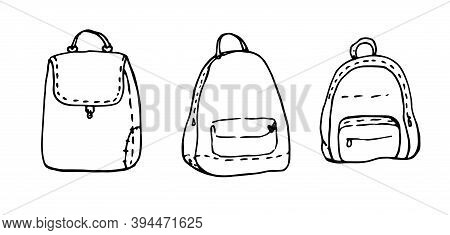 Hand Drawn Vector Set Sketch Doodle Backpacks. Casual Backpack, Fashion Backpack. Vector Illustratio