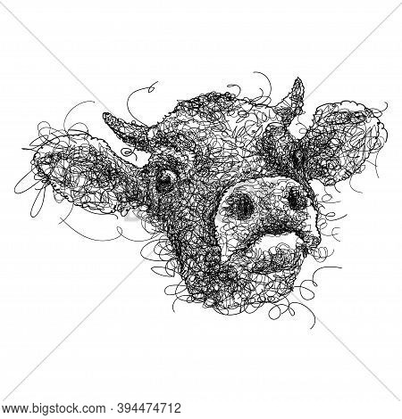 Vector Scribble Or Scrawl Horned Bull Head In Black Isolated On White Background. Hand-drawn Front V