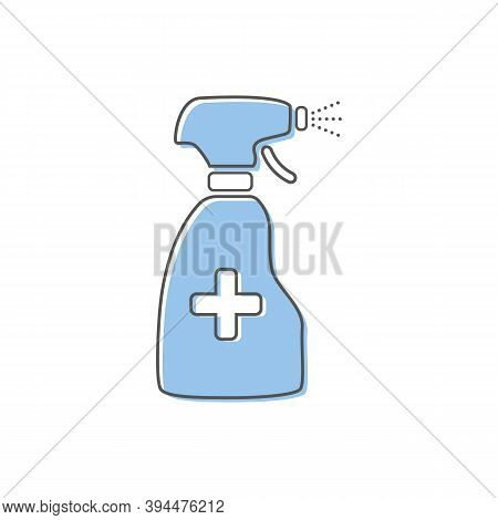 Anti-bacterial Alcohol Agent, Sanitizer, Bottle Spray Flat Style Line Icon