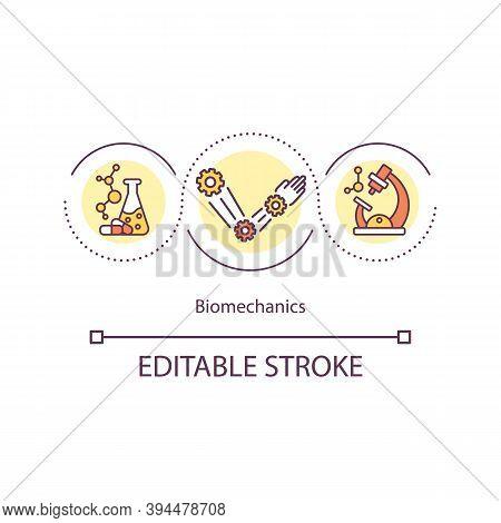 Biomechanics Concept Icon. Living Body Movement Idea Thin Line Illustration. Musculoskeletal Problem