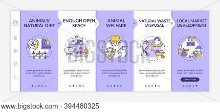 Ethical Farm Production Onboarding Vector Template. Animal Welfare. Sustainable Development. Respons