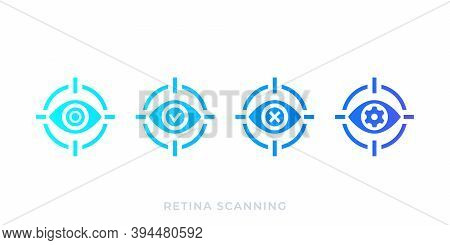 Retina Scanning, Biometric Scan Vector Icons, Eps 10 File, Easy To Edit