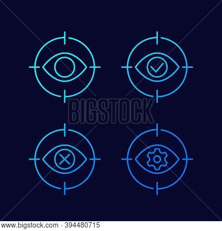 Retina Scanning Thin Line Icons, Eps 10 File, Easy To Edit