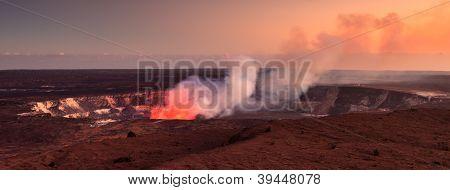 Active Halemaumau Crater At Sunset