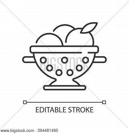 Colander Linear Icon. Strainer To Rinse Fruits. Wash Fruits In Pot. Utensil For Preparing Food. Thin
