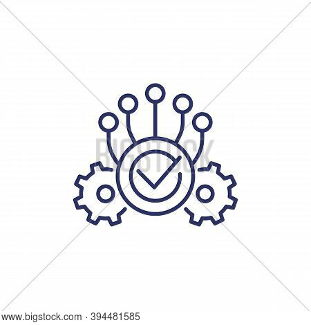 Execution Line Icon With Gears, Eps 10 File, Easy To Edit