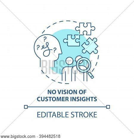 No Customer Insights Vision Concept Icon. Business Challenges Idea Thin Line Illustration. Unfocused