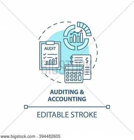 Auditing And Accounting Concept Icon. Top Business Consulting Service Idea Thin Line Illustration. A