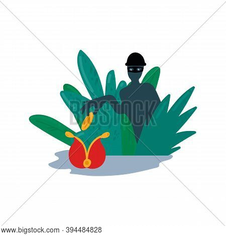Illustration Of A Fraudster Stealing Money. Cartoon Vector Composition Fraud, Crime, Take Money From