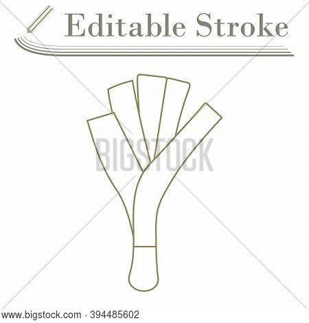 Leek Onion Icon. Editable Stroke Simple Design. Vector Illustration.
