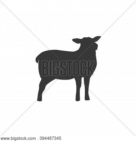 Lamb Silhouette Isolated On White Background. Lamb Or Sheep Icon. Vector