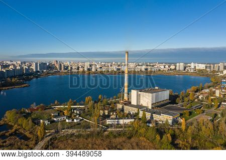 Waste Incineration Plant In The City Near The Lake