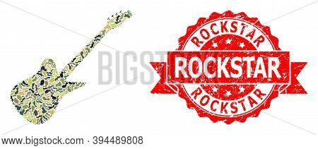 Military Camouflage Composition Of Electric Guitar, And Rockstar Dirty Seal. Red Stamp Seal Includes