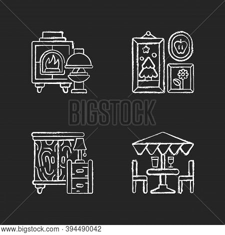 Home Decorations And Furniture Chalk White Icons Set On Black Background. Fireplaces. Photo Frames.