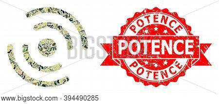 Military Camouflage Combination Of Propeller Rotation, And Potence Scratched Stamp Seal. Red Stamp S
