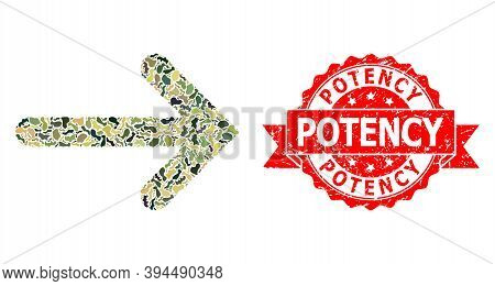 Military Camouflage Collage Of Right Arrow, And Potency Scratched Seal. Red Stamp Includes Potency C