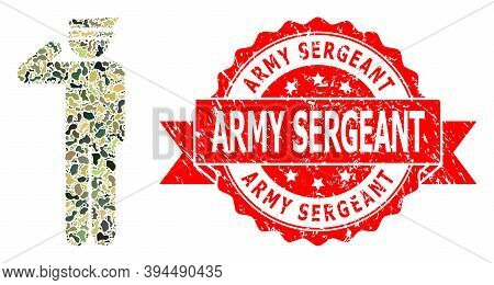Military Camouflage Combination Of Police Officer, And Army Sergeant Corroded Seal. Red Stamp Seal C