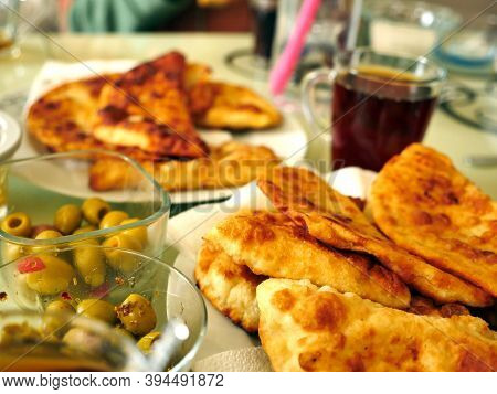Baked Fatty Toast At The Breakfast Table, Turkish Style Fried Bread,
