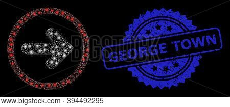 Flare Mesh Right Pointer With Light Spots, And George Town Grunge Ribbon Seal Imitation. Blue Seal I