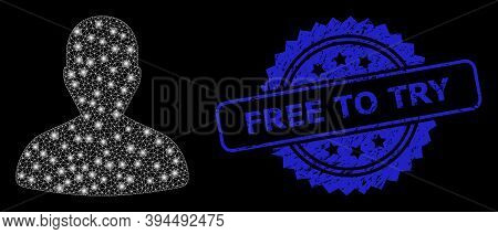 Glowing Mesh User With Light Spots, And Free To Try Unclean Ribbon Seal Imitation. Blue Stamp Seal I