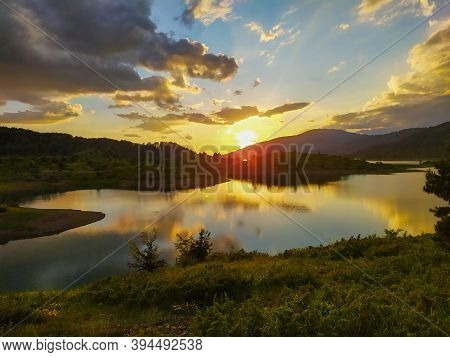 Sunset Over The Lake In Greece Eastern Europe