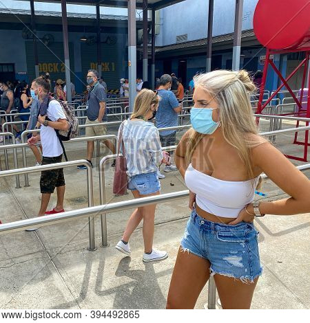 People In Line For The Spiderman Ride At Universal Studios During The Reopening On June 2020 After T