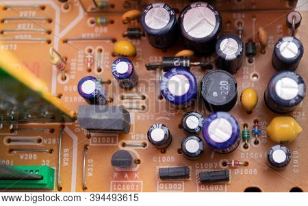 Moscow, Russia, September 2020:close - Up Of Details Inside The Vcr. Transistors, Microchips, Etc. T