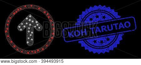 Bright Network Up Pointer With Glowing Spots, And Koh Tarutao Unclean Ribbon Stamp. Blue Stamp Seal