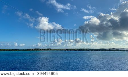 Half Moon Cay, Bahamas - October 31, 2019: The Private Island Of Half Moon Cay In The Bahamas On A S